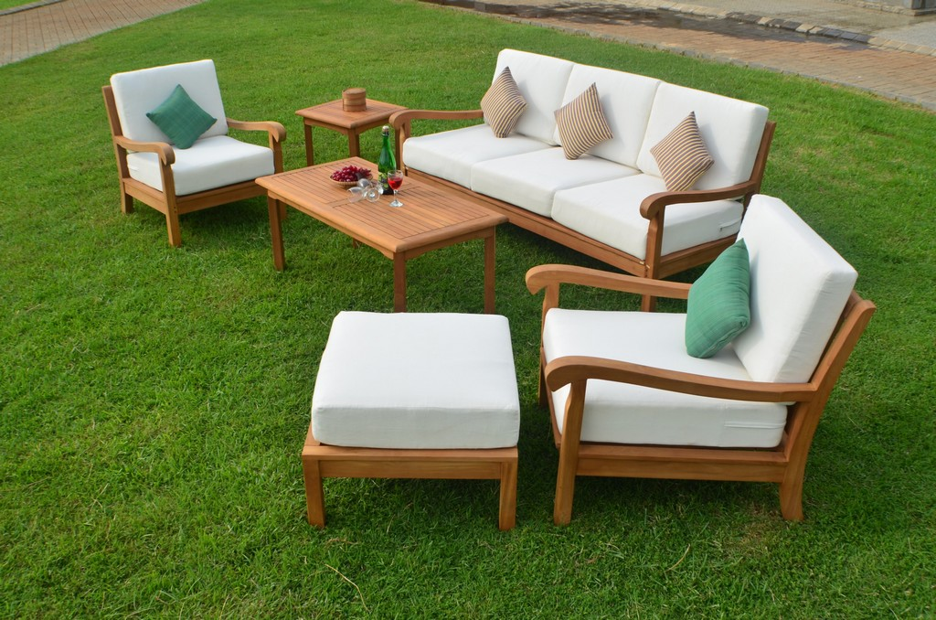 Details About 6 Pc Large Teak Wood Garden Indoor Outdoor Patio Sofa Set Furniture Pool Napa